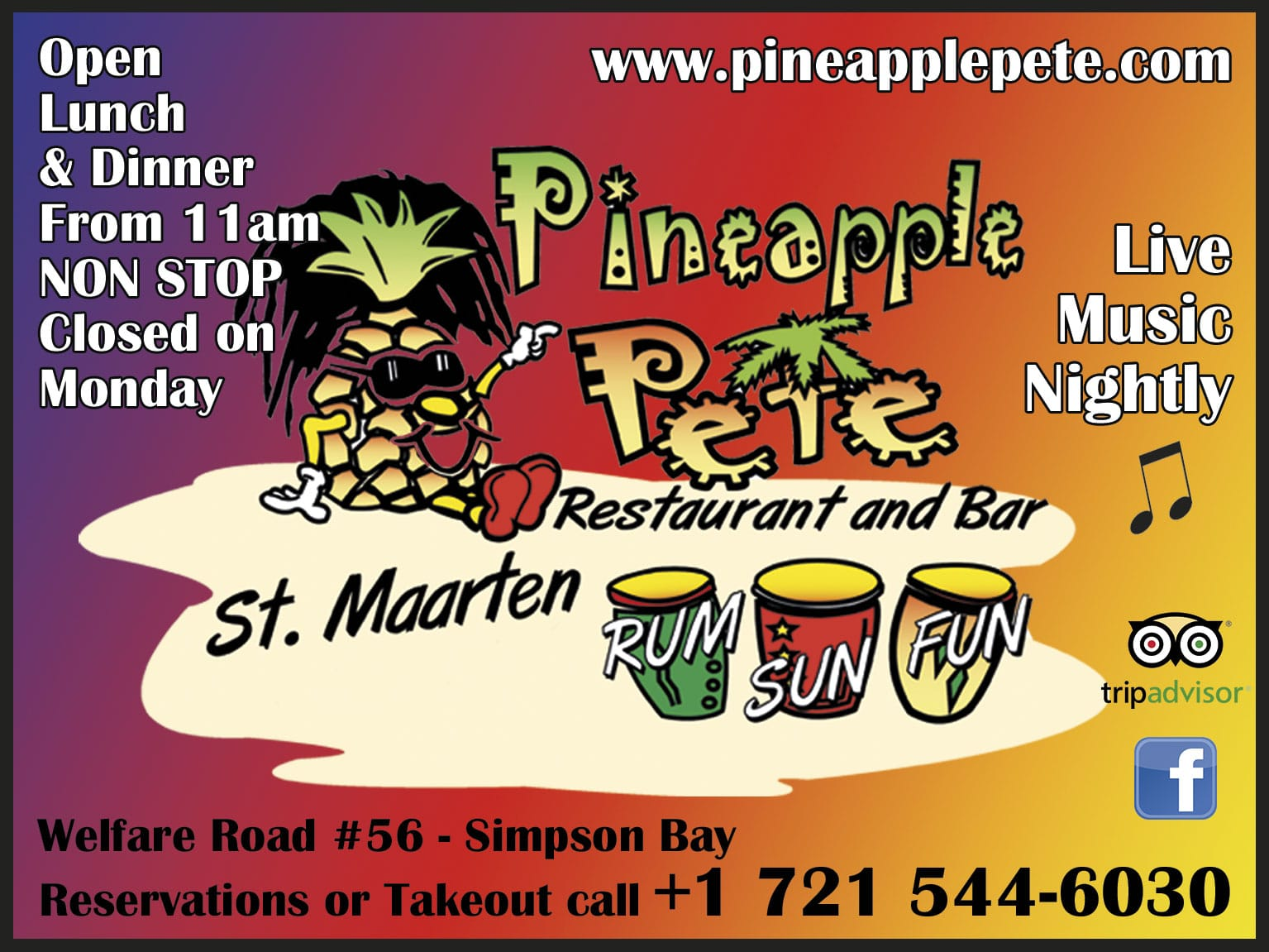 SXM MAP - Saintmartinsintmaarten - Pineapple Pete Restaurant